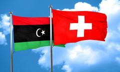 Libya flag with Switzerland flag, 3D rendering Stock Illustration
