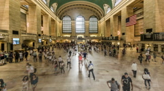 View of Grand Central train station ticket hall in Manhattan, NY Stock Footage