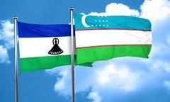 Lesotho flag with Uzbekistan flag, 3D rendering - stock illustration