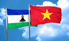 Lesotho flag with Vietnam flag, 3D rendering - stock illustration