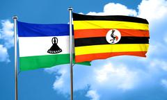 Lesotho flag with Uganda flag, 3D rendering Stock Illustration