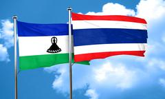 Lesotho flag with Thailand flag, 3D rendering Stock Illustration