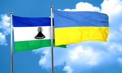 Lesotho flag with Ukraine flag, 3D rendering Stock Illustration