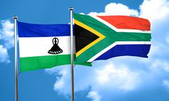 Lesotho flag with South Africa flag, 3D rendering - stock illustration