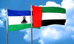 Lesotho flag with UAE flag, 3D rendering - stock illustration