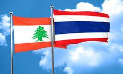 Lebanon flag with Thailand flag, 3D rendering Stock Illustration