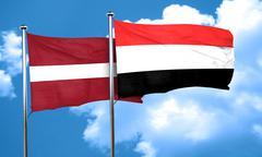 Latvia flag with Yemen flag, 3D rendering Stock Illustration