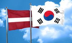 Latvia flag with South Korea flag, 3D rendering - stock illustration