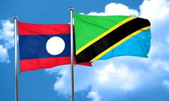 Laos flag with Tanzania flag, 3D rendering Stock Illustration