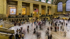 View of Grand Central train station ticket hall in Manhattan, New York City, NY Stock Footage