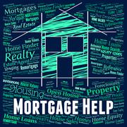 Mortgage Help Indicating Home Loan And Info Piirros