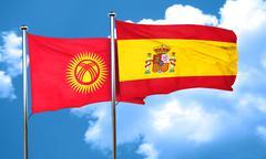 Kyrgyzstan flag with Spain flag, 3D rendering Stock Illustration