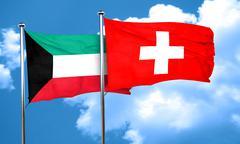 Kuwait flag with Switzerland flag, 3D rendering - stock illustration