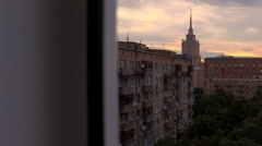 View to Moscow court and on high-rise buildings in the early morning Stock Footage