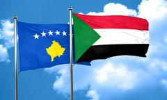 Kosovo flag with Sudan flag, 3D rendering Stock Illustration