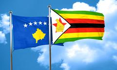 Kosovo flag with Zimbabwe flag, 3D rendering - stock illustration