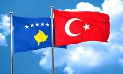 Kosovo flag with Turkey flag, 3D rendering - stock illustration