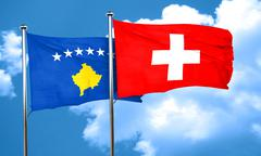 Kosovo flag with Switzerland flag, 3D rendering - stock illustration