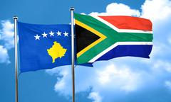 Kosovo flag with South Africa flag, 3D rendering - stock illustration