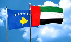 Kosovo flag with UAE flag, 3D rendering - stock illustration
