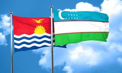 Kiribati flag with Uzbekistan flag, 3D rendering Stock Illustration
