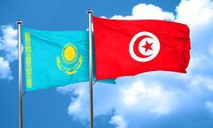 Kazakhstan flag with Tunisia flag, 3D rendering - stock illustration