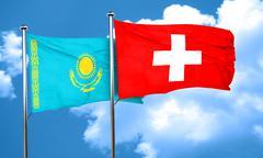 Kazakhstan flag with Switzerland flag, 3D rendering Stock Illustration