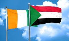 Ivory coast flag with Sudan flag, 3D rendering - stock illustration