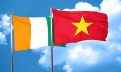 Ivory coast flag with Vietnam flag, 3D rendering - stock illustration