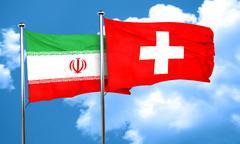 iran flag with Switzerland flag, 3D rendering - stock illustration