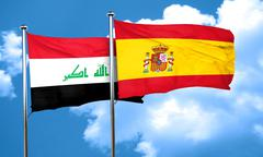 Iraq flag with Spain flag, 3D rendering Stock Illustration