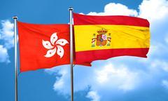 hong kong flag with Spain flag, 3D rendering - stock illustration