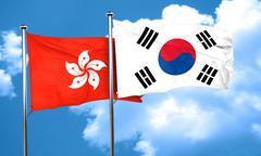 hong kong flag with South Korea flag, 3D rendering - stock illustration