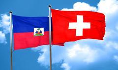 Haiti flag with Switzerland flag, 3D rendering Stock Illustration