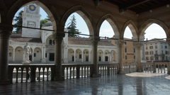 The loggia of D'Aronco Palace in Udine Stock Footage