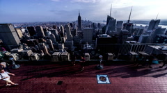 People on the observation deck to look New York City, USA Stock Footage