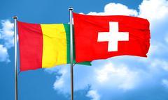 Guinea flag with Switzerland flag, 3D rendering - stock illustration