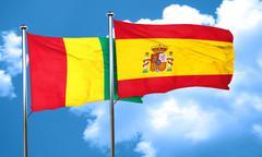 Guinea flag with Spain flag, 3D rendering - stock illustration