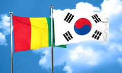 Guinea flag with South Korea flag, 3D rendering - stock illustration