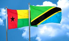 Guinea bissau flag with Tanzania flag, 3D rendering Stock Illustration