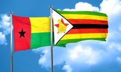 Guinea bissau flag with Zimbabwe flag, 3D rendering - stock illustration