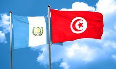 Guatemala flag with Tunisia flag, 3D rendering Stock Illustration