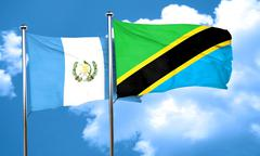 Guatemala flag with Tanzania flag, 3D rendering Stock Illustration
