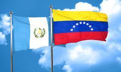 guatemala flag with Venezuela flag, 3D rendering - stock illustration