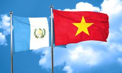 Guatemala flag with Vietnam flag, 3D rendering Stock Illustration