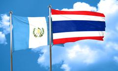 Guatemala flag with Thailand flag, 3D rendering Stock Illustration