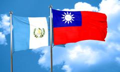 Guatemala flag with Taiwan flag, 3D rendering Stock Illustration