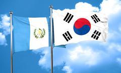 guatemala flag with South Korea flag, 3D rendering - stock illustration