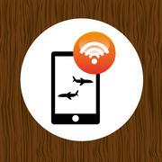wifi signal in flight design - stock illustration