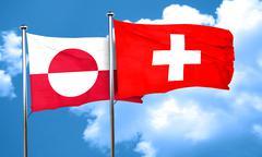 greenland flag with Switzerland flag, 3D rendering - stock illustration